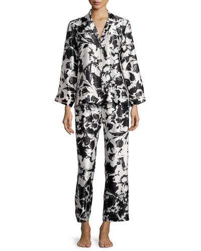 Floral Pajama Set, Black Pattern