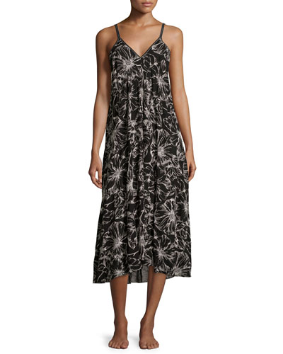 Embroidered Floral-Print Long Gown, Black Pattern