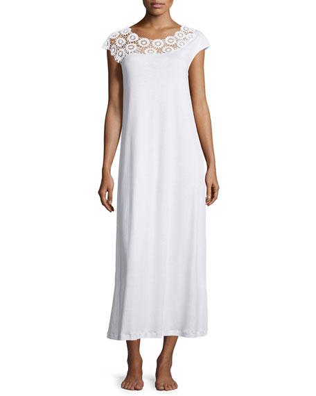 Hanro Eva Lace-Trim Long Gown, White