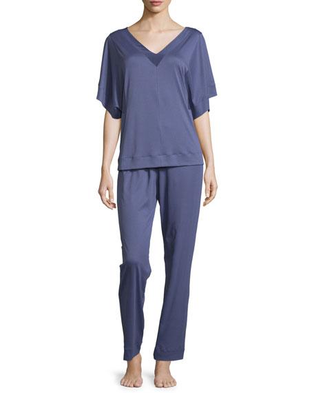 Hanro Nuria Capri Pajama Set, Indigo