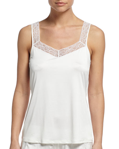 Hanro Sandra Lounge Tank W/Lace Trim, Off White