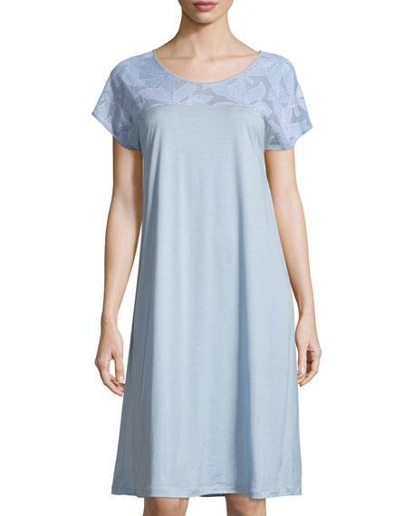 Hanro Yolanda Cap-Sleeve Nightgown, Tourmaline