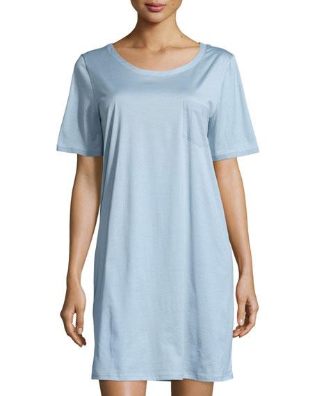 Hanro Cotton Deluxe Short-Sleeve Sleep Shirt, Tourmaline