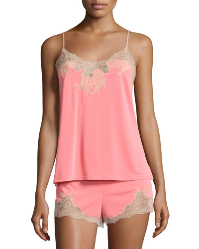 Enchant Lace-Trimmed Nightie Set, Coral Pink