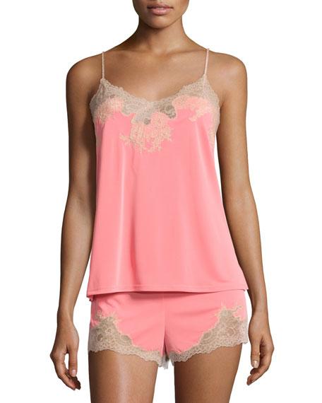 Natori Enchant Lace-Trimmed Nightie Set, Coral Pink