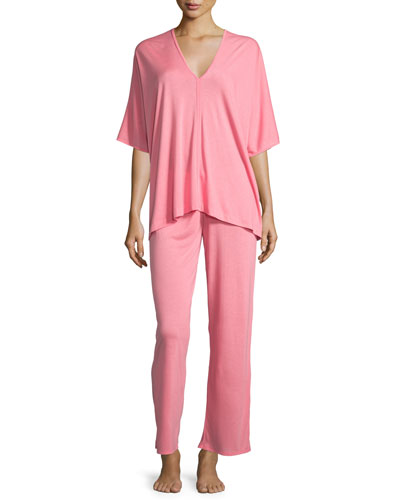 Shangri La Tunic Pajama Set, Pink Cantaloupe