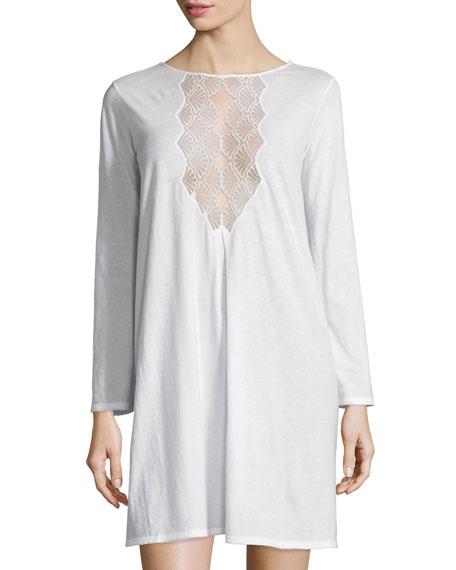Natori Tranquility Lace-Inset Sleepshirt, White