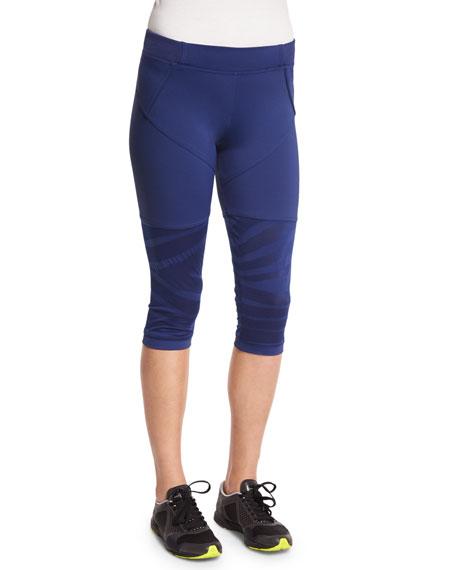adidas by Stella McCartney Studio Zebra-Print Cropped Sport Leggings, Dark Blue