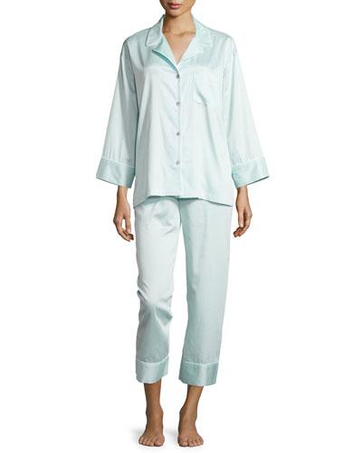 Cotton Sateen Pajama Set W/Piping, Starlight Blue