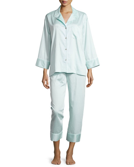 Natori Cotton Sateen Pajama Set W/Piping, Starlight Blue