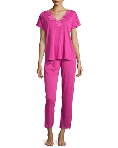 Zen Floral Lace Short-Sleeve Pajama Set, Fuchsia