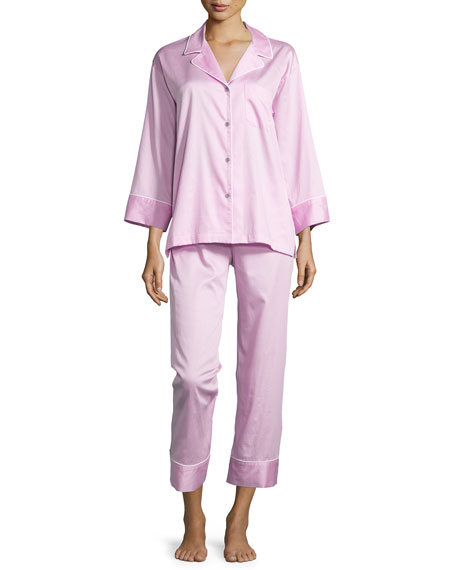 Natori Cotton Sateen Pajama Set W/Piping, Tea Rose