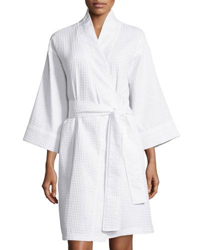 Waffle-Knit Short Wrap Robe, White