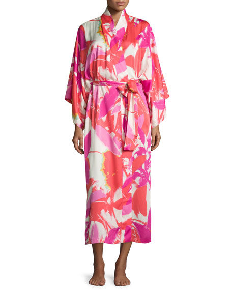Natori Lucent Palms Robe, Duchess Rose