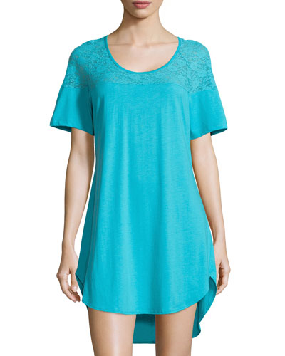 Arizona Lace-Yoke Sleepshirt, Blue Mediterranean