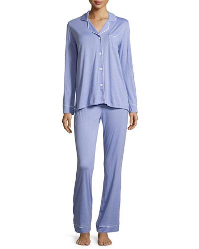 Bella Long-Sleeve Pajama Set, Purple Sky/White