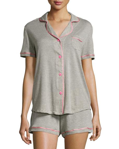 CosabellaBella Short-Sleeve Feed-Striped Pajama Set, Heather