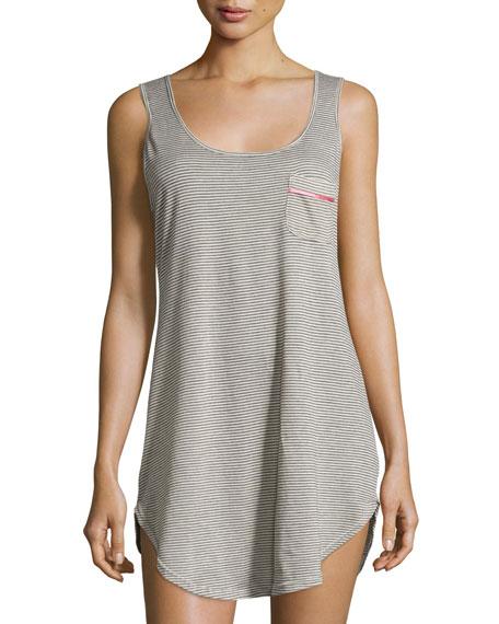 CosabellaBella Striped Sleeveless Nightshirt, Heather Gray/Pink