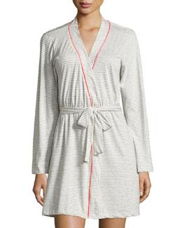 Bella Striped Short Robe, Heather Gray/Pink