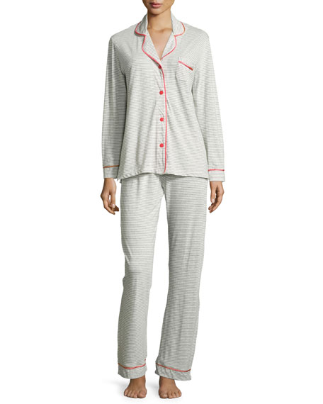 CosabellaBella Striped Pajama Set, Heather Gray/Pink