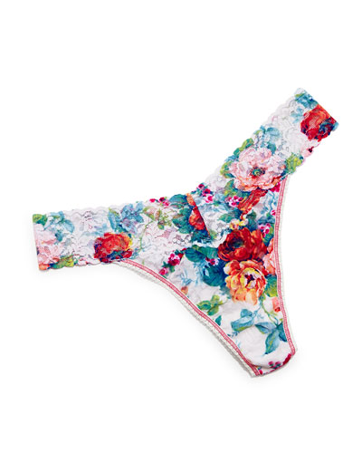 Original-Rise English Garden Floral-Print Thong, Multicolor