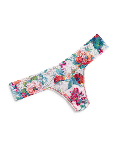 Hanky Panky Low-Rise English Garden Floral-Print Thong, Multicolor