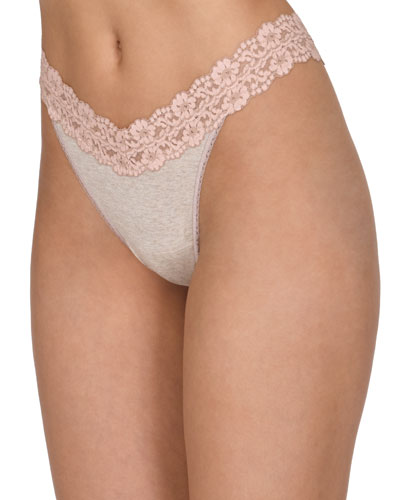 Original-Rise Heather Jersey Thong, Ivory Coal