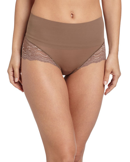 Spanx Undie-Tectable® High-Waist Lace Boyshorts, Mineral Taupe