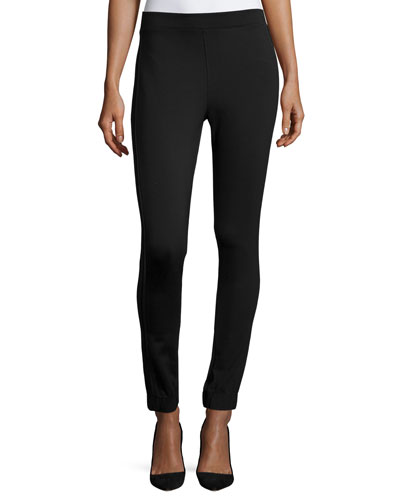 Cropped Track Stretch Leggings, Very Black