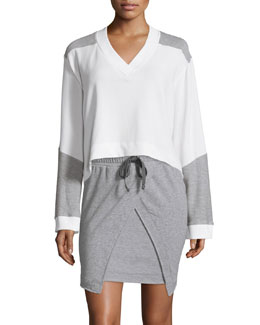 Brea Colorblock Long-Sleeve Sweatshirt, Snow White
