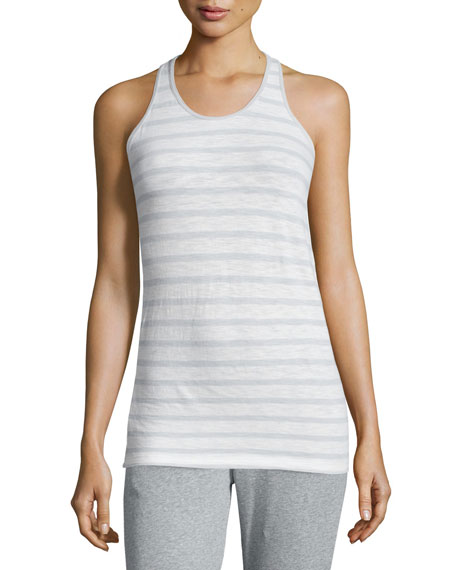 Skin June Striped Racerback Tank, White/Moonlight