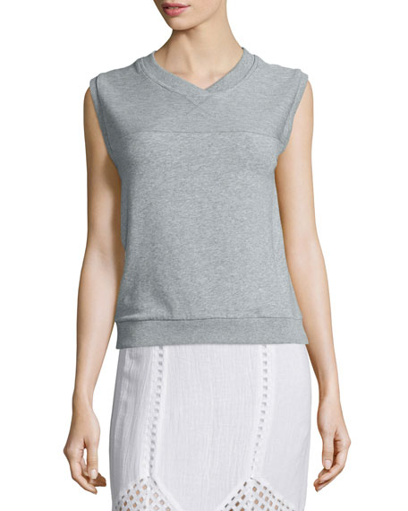 Skin Luca Sleeveless V-Neck Pullover, Heather Gray