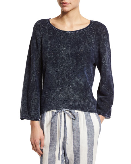 Skin Judith Bracelet-Sleeve Pullover, Indigo Blue