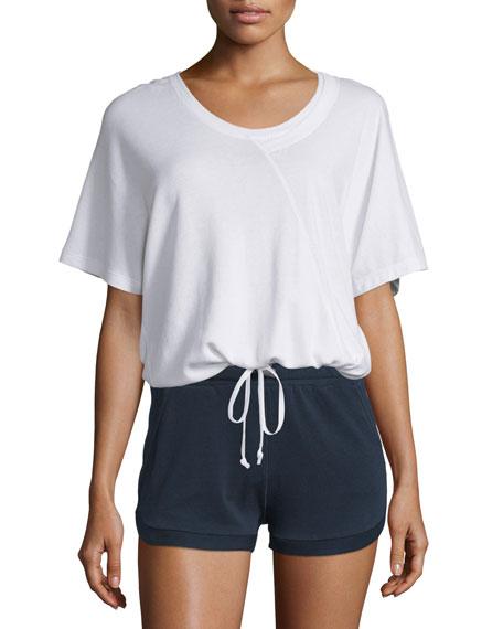 Maddie Short-Sleeve Round-Neck Tee, White