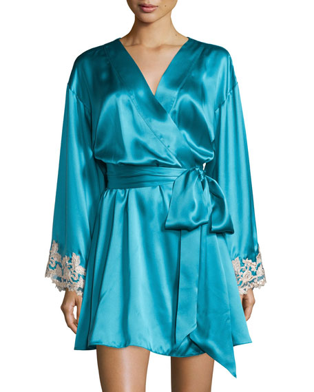 La Perla Maison Lace-Trim Short Robe, Turquoise