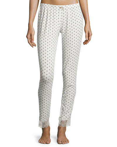Ikat Heart Slim-Leg Lounge Pants, Shadow Gray