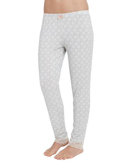Fossil Rock Printed Slim-Fit Lounge Pants, Mirror Gray