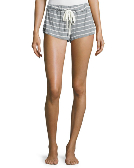 Eberjey Striped Lounge Shorts, Sage Gray
