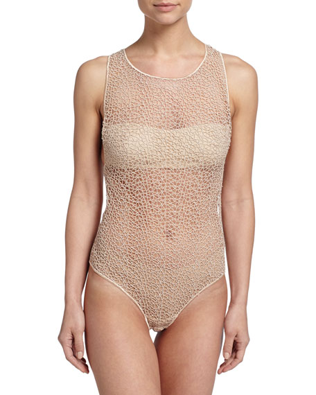 La PerlaMacrame Lace Art Sheer Zip Bodysuit, Nude