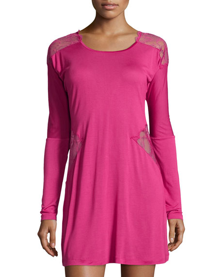 La Perla Iris Lace-Panel Sleepshirt, Iris Pink