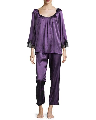 Lace Luster Long Pajama Set, Purple