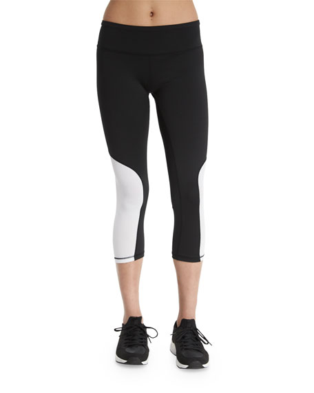 Heroine Sport Colorblock Cycling Capri Leggings, White/Black