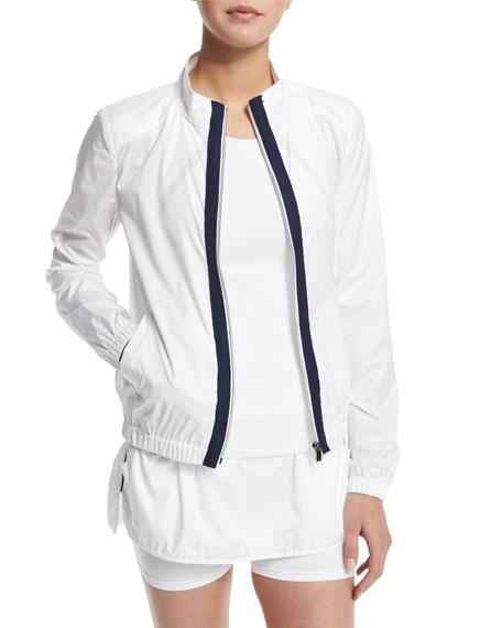 Heroine SportTraining Jacket W/Contrast Stripe, White/Navy