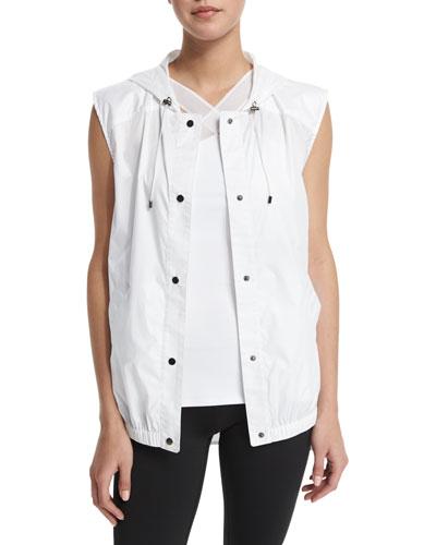 Drawstring Hooded Training Vest, White