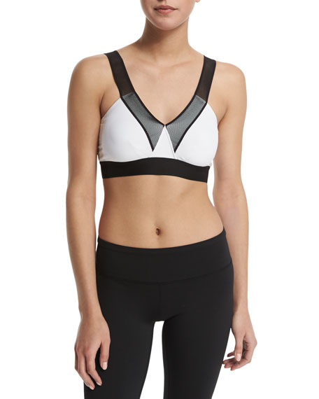 HEROINE SPORT V-Neck Mesh-Shoulder Bra, Black/White in Black W/White