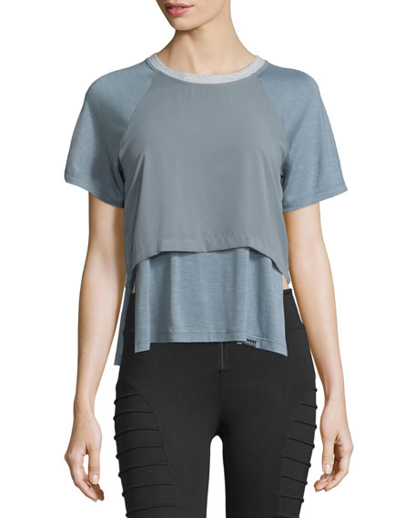 Koral Activewear Clarion Double-Layer Cropped Tee
