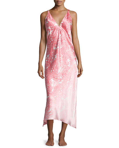Oscar de la Renta Regal Paisley Satin Charmeuse Sleeveless Gown, Pink