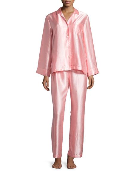 Oscar de la Renta Long-Sleeve Charmeuse Pajama Set,