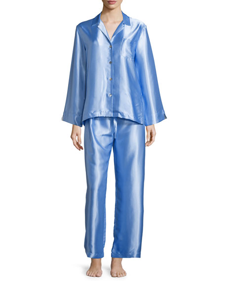 Oscar de la Renta Long-Sleeve Charmeuse Pajama Set,