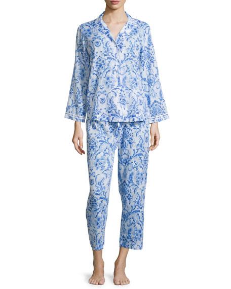 Oscar de la Renta Printed Lawn Pajama Set,